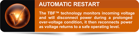 The TBF™ technology monitors incoming voltage and will disconnect power during a prolonged over-voltage condition, and then reconnects power as voltage returns to a safe operating level.